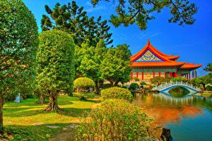 Картинка Тайвань Китай Храм Реки Мосты Пруд HDR Дерева Chiang Kai-shek Memorial Taipei Природа
