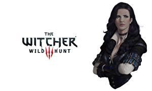 Фотографии The Witcher 3: Wild Hunt Белом фоне Брюнеток Yennefer Игры