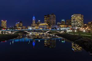 Обои США Здания Реки Мост Ночью Уличные фонари Columbus Ohio Города