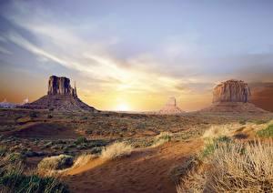 Обои США Рассвет и закат Скала Arizona, Monument valley, Colorado plateau Природа