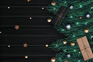 Обои для рабочего стола Векторная графика Новый год Ветка Подарков Шарики Звездочки