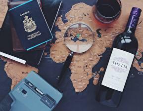 Обои для рабочего стола Вино География Бутылка Увеличительное стекло Английский Туризм