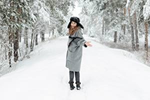 Фотография Зима Снега Улыбается В шапке Рука Шатенки молодые женщины