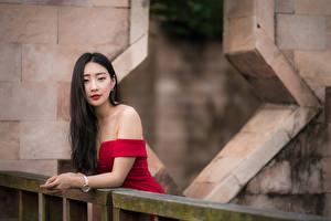 Фотографии Азиатки Позирует Волосы Смотрит Брюнетка девушка
