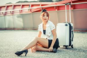 Обои Азиатки Позирует Сидящие Ног Униформе Стюардесса Чемоданом Шатенки девушка