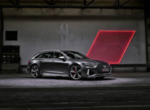 Фотография Audi Серая Металлик Сбоку Универсал RS 6 2020 2019 V8 Twin-Turbo Avant Автомобили