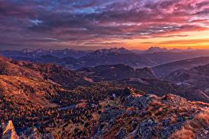 Картинка Австрия Гора Рассвет и закат Пейзаж Альп