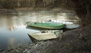 Картинки Лодки Озеро Льда Трое 3 Природа