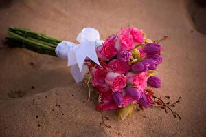 Картинки Букет Роза Тюльпан Орхидеи Цветы