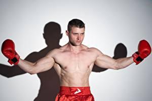 Фотография Бокс Мужчина Боксер Поза Рука Смотрят Перчатки спортивная