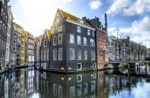 Фото Мосты Здания Голландия Амстердам Водный канал