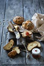 Фото Булочки Нож Джем Доски Нарезанные продукты Масла Продукты питания