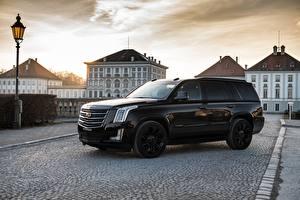 Обои Кадиллак Сбоку Черных Металлик Escalade 2018 Автомобили