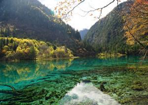 Картинка Китай Парк Гора Лес Осенние Озеро Цзючжайгоу парк Sichuan Природа