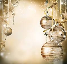 Картинки Новый год Шарики Звездочки Колокольчик Шаблон поздравительной открытки