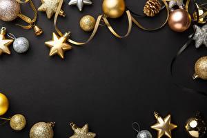 Фотографии Рождество На черном фоне Шар Шаблон поздравительной открытки Звездочки
