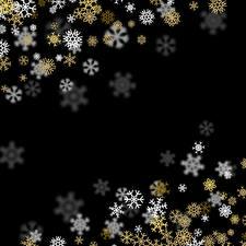 Фотография Новый год На черном фоне Снежинка Шаблон поздравительной открытки