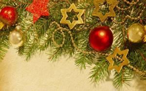Фото Рождество Ветки Звездочки Шар