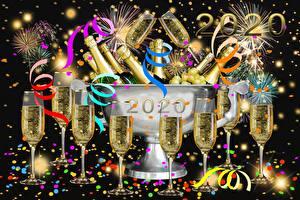 Фотография Новый год Шампанское Бокалы Лента Конфетти 2020