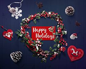 Картинки Новый год Инглийские Снежинки Сердце Шишка Венок