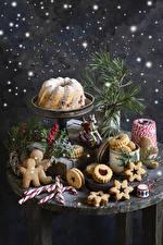 Фотография Новый год Выпечка Кекс Печенье Леденцы Ягоды Натюрморт Дизайн