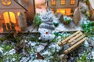 Фотография Рождество Снеговика В шапке Санях