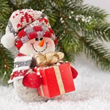 Фотография Новый год Снеговики Шапки Улыбка Шарф Подарки Бантик