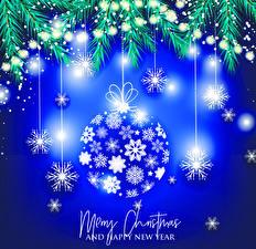 Картинка Новый год Векторная графика Инглийские Шарики Снежинка Ветки Электрическая гирлянда