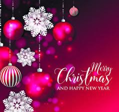 Картинки Рождество Векторная графика Инглийские Шар Снежинка