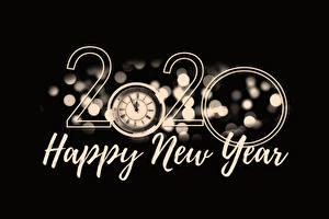 Фотографии Циферблат Новый год Черный фон Слово - Надпись Английский 2020