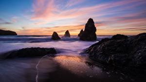 Обои Побережье Море Рассветы и закаты Утес