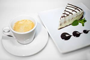 Картинки Кофе Капучино Пирожное Шоколад Чашка Пища