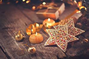 Фотография Печенье Новый год Свечи Звездочки Еда