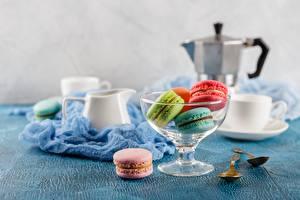 Фото Печенье Стол Чашке Миска Макарон Продукты питания