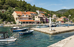 Обои для рабочего стола Хорватия Здания Пирсы Катера Лодки Залива Blato Korčula Island город