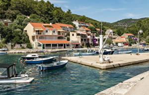 Фото Хорватия Здания Пирсы Катера Лодки Залива Blato Korčula Island город