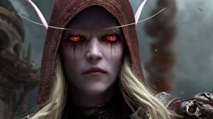 Обои Эльфы World of WarCraft Лица Сильвана Ветрокрылая Смотрит Battle of Azeroth