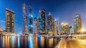 Картинка ОАЭ Дубай Небоскребы Набережной