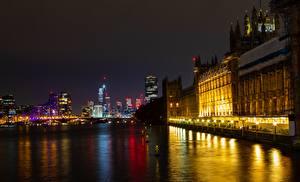 Фотография Англия Мосты Речка Лондоне В ночи Thames, palace of Westminster город