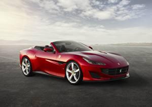 Фотография Ferrari Красные Металлик Кабриолета Portofino Gran Turismo 2017-19 Автомобили