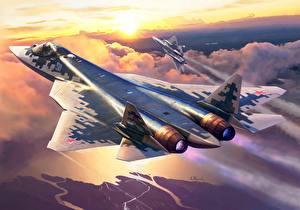 Картинка Самолеты Истребители Рисованные Русские Su-57 Авиация