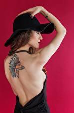 Фотографии Лисы Цветной фон Модель Позирует Руки Татуировки Шляпы Шатенка Спины Индейца девушка