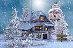 Фотографии Дома Новый год Снеговики Деревья Снег Слово - Надпись Английский