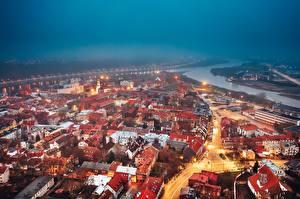 Фотографии Здания Литва Вечер Сверху Kaunas город