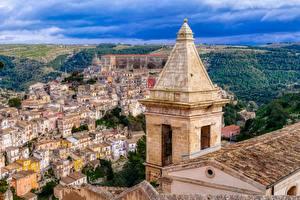 Фотография Здания Сицилия Италия Сверху Башня Ragusa Города