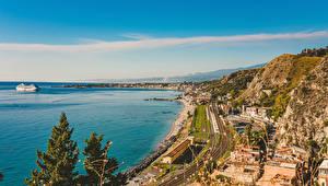 Фотография Италия Сицилия Дома Пирсы Берег Taormina Города
