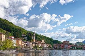 Фото Озеро Причалы Здания Италия Небо Porto Ceresio, lake Lugano, province of Varese