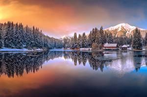 Фотография Озеро Горы Австрия Зимние Keltendorf Природа