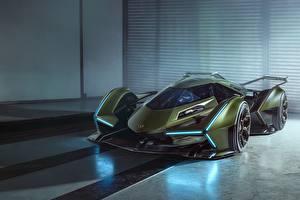 Обои Lamborghini Зеленые Lambo V12 Vision 2019 Concept Автомобили