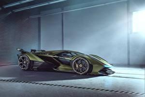 Обои Lamborghini Сбоку Зеленый Vision Gran Turismo 2019 Lambo V12 Автомобили картинки